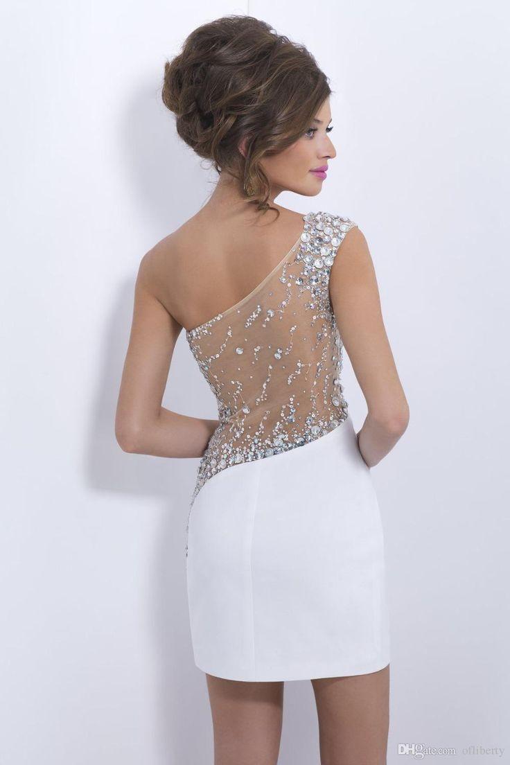 Short prom dresses 2015 new tight fashion crystal white sexy prom dress Free International Shipping