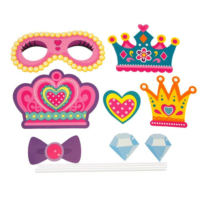 DIY Kid Photo Booth Props, 8-piece, Princess Party