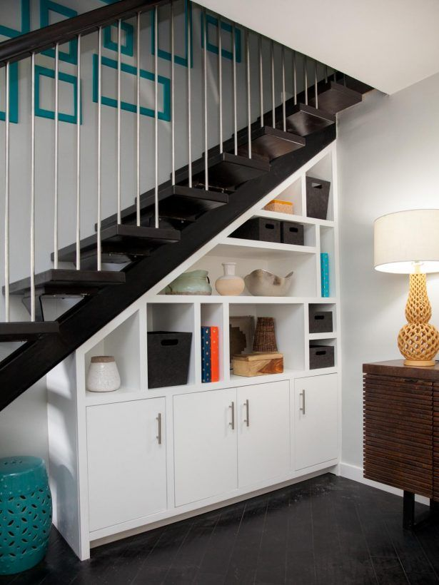 Interior Black Wooden Steps Modern Credenza Modular Open Shelving Chrome Handrails Under Cabinet Decorate Turquoise Barrel Stools Ideas Black Tiled Floor White Under Stai Cupboard And Shelves Gold Lamp Shade Under Stairs Closet Storage Solutions