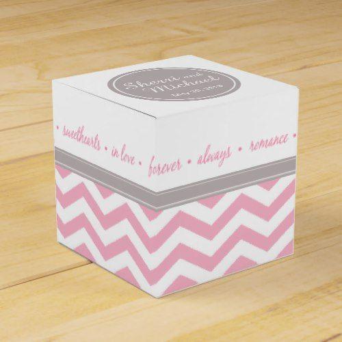 Chic Chevron Monogram   pink grey white Favor Box