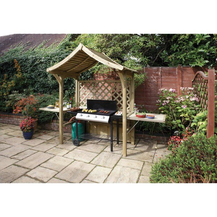 This Party Arbor from Rowlinson should be regarded as a design classic. It looks so good and is extremely practical. With the seat in place, you have an attractive arbor. Fold the seat away and put the two side panels in place, and the arbor is transformed into party central. The BBQ fits neatly under cover and the tables are useful for plates, relishes, salads and glasses. It will be the ideal center piece to any summer party. And when all the guests have gone home, let the seat down again…