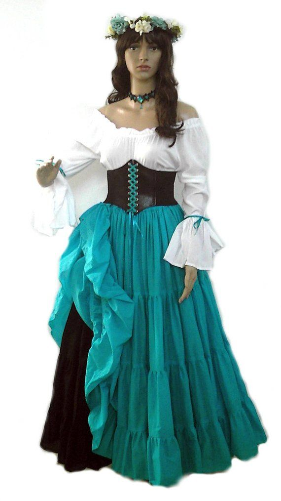 9d3037fff35 Renaissance Dress Corset Skirt Chemise Wench Pirate Medieval Steampunk  Costume Celtic Cosplay Fair T
