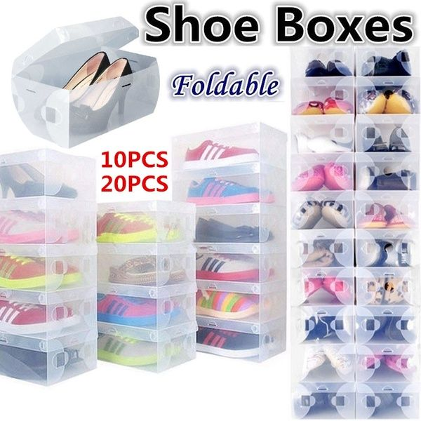 New 10//20pcs Stackable Clear Plastic Shoe Storage Boxes Foldable Shoes Container