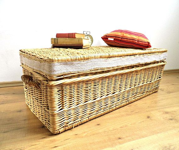 XL Antique Wicker Laundry Basket Lace Large Vintage Steamer