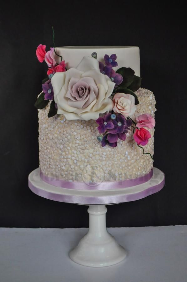 Lilac Shimmer Sequinned Wedding Cake by Victoria Forward - http://cakesdecor.com/cakes/273453-lilac-shimmer-sequinned-wedding-cake