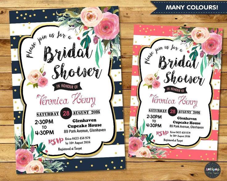 Floral Bridal Shower Invitation - Digital or Printed - Ship Worldwide! Visit www.lollipoppartysupplies.com.au