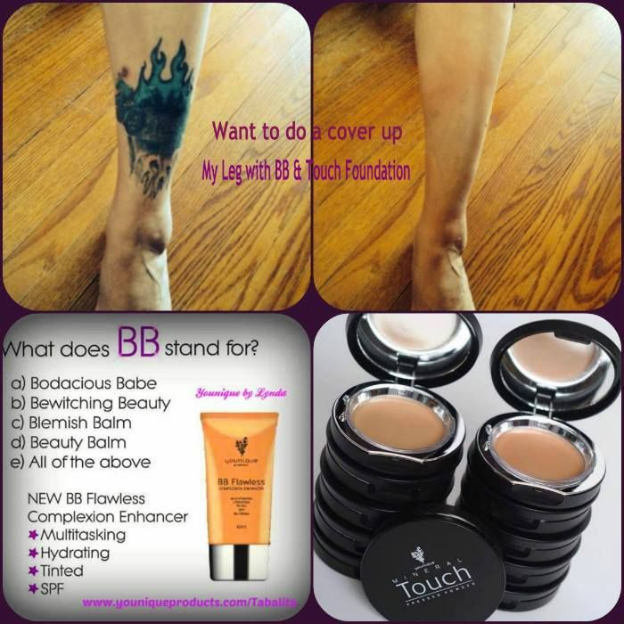 What amazing products. So much coverage you cant even see this large leg tattoo!! www.youniqueproducts.com/abbiewhitton