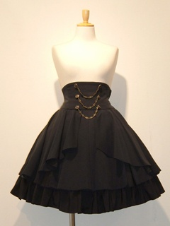 high waist, petticoat showing, overskirt. doesn't have to be all the same colour, nor all one piece.