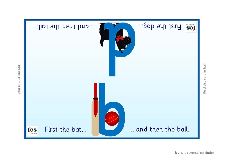 b and d reversal reminders. Simple illustrated foldovers with supporting illustrations. Uses the terms 'First the bat and then the ball' and 'First the dog and then the tail'. Sassoon font throughout