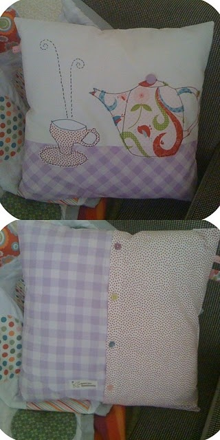 Tea time pillow - how cute and you can patchwork it and stitch it in embroidery fashion.