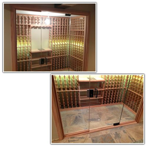 Technical Tuesday Episode #143: A Royal Appeal With A Glass-Enclosed Project In All-Heart Redwood - the finished wine racking system is simple with clean, superbly crafted lines and displays beautifully behind the glass panels.