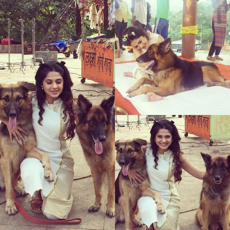 Jennifer Winget .. All mine!!! Wish I could take them both home. My co stars for today. Love! Love! ❤️#Beyhadh#imissbreezer#❤️dogs❤❤❤ Jennifer Winget  Jennifer Winget with dogs on set