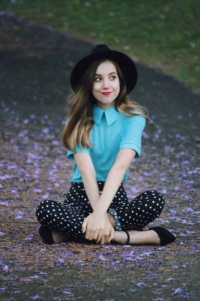 black ankle strap LuLus shoes - black boater OASAP hat - sky blue Koogal top