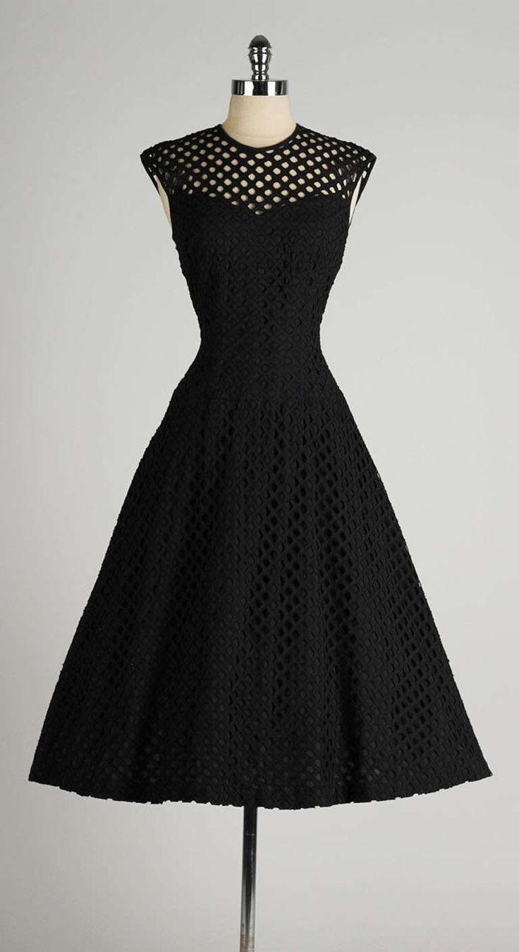 Black dress design - Vintage 1950 S Dorothy Hubbs Embroidered Diamond Illusion Dress
