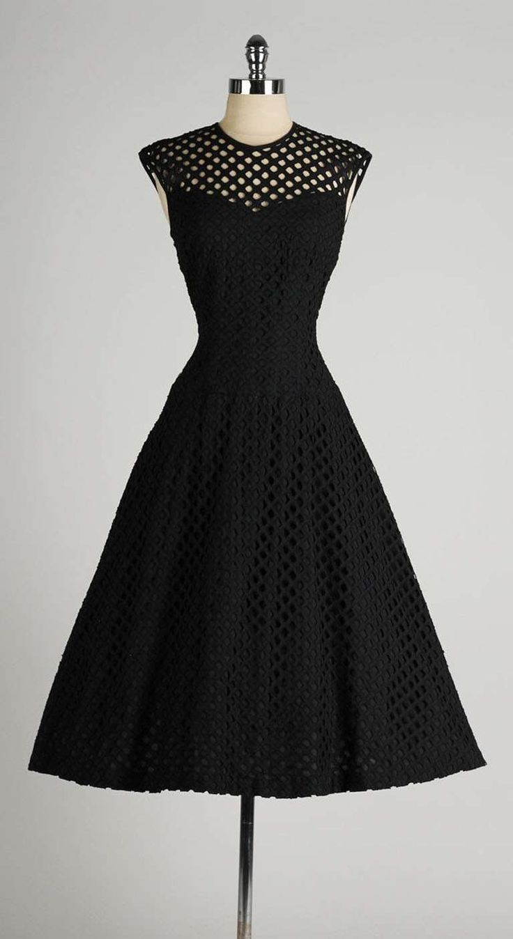 Black dress retro - Vintage 1950 S Dorothy Hubbs Embroidered Diamond Illusion Dress