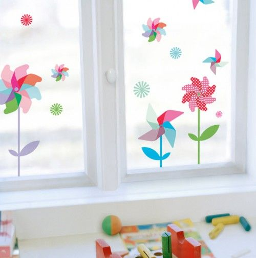 Pin Wheels Decorative Window Decals - happy spring!