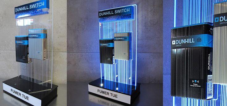 On Target PLV presenta un expositor luminoso sobremesa led luz filtrante Dunhill.