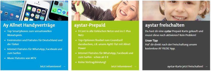 AY YILDIZ ist ein Mobilfunkunternehmen mit Sitz in Düsseldorf und ist eine 100% Tochter der E-Plus Mobilfunk GmbH & Co. KG. AY YILDIZ entwickelt seit jeher innovative Produkte, speziell für die Bedürfnisse der türkischen Zielgruppe. www.ayyildiz.de