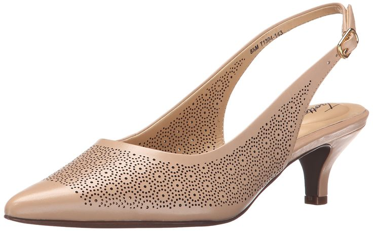 Trotters Women's Slingback Kitten Heeled Pump, Nude, 12 N US. Pointed-toe leather pump featuring slingback strap with buckle closure and kitten heel.