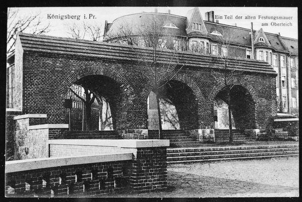 Königsberg, Teil der alten Festungsmauer am Oberteich