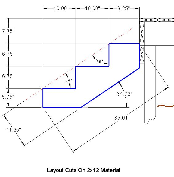 Drawing showing dimensions for each notch cut-out for stair stringers.