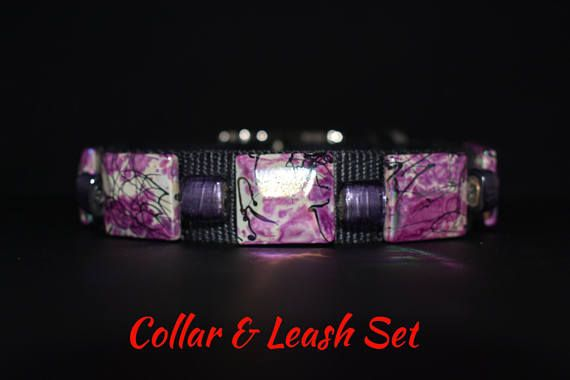 "Dog Collar & Leash Set: Collar 13""-16"" by 1"" wide. Leash 6ft by 1"". Cool Dog Collar,Fancy Dog Collar, Fun Dog Collar, Bling Dog Collar"