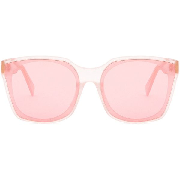 SUPER Quadra Forma Sunglasses ($200) ❤ liked on Polyvore featuring accessories, eyewear, sunglasses, retrosuperfuture glasses, pink glasses, pink lens sunglasses, retrosuperfuture sunglasses and pink sunglasses