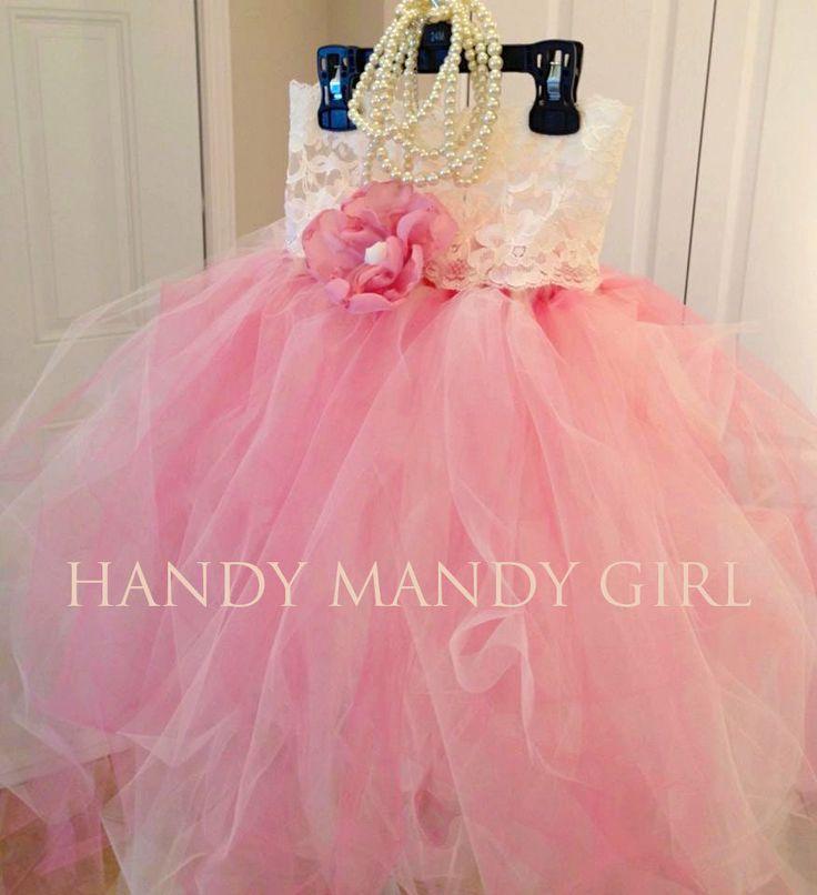 Blush Pink and Ivory Lace flower girl tutu dress by HandyMandyGirl, $70.00