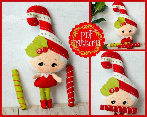 PDF. Candy and candy cane elves. Plush Doll Pattern by Noialand