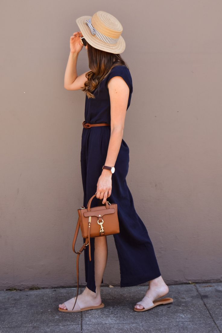 Lightweight maxi dress for summer, Navy maxi dress, nude slide sandals, blush slide sandals, navy and brown outfit, belted maxi dress, navy and cognac outfit, 4th of july style, straw boater hat outfit, cognac crossbody, neutral maxi dress, effortless summer style