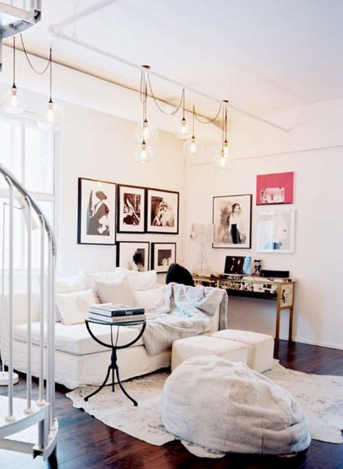 white and bright: Living Rooms Lights, Hanging Lights, Interiors, Cowhide Rugs, Beans Bags, Beanbag, Lights Ideas, Diy Projects, White Furniture