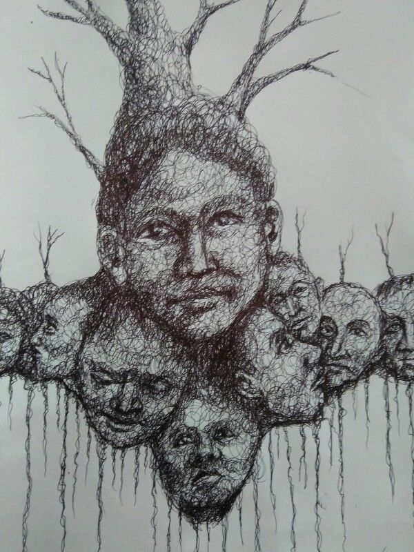 Tree For Life ballpoint on paper A3 2015