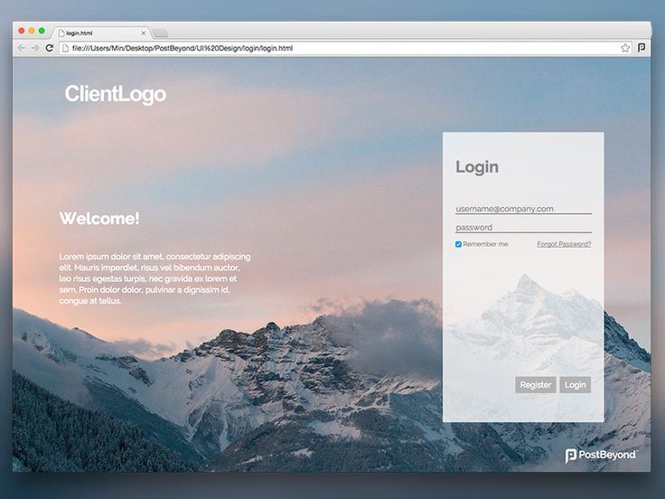 Login page draft #1 by Min for PostBeyond