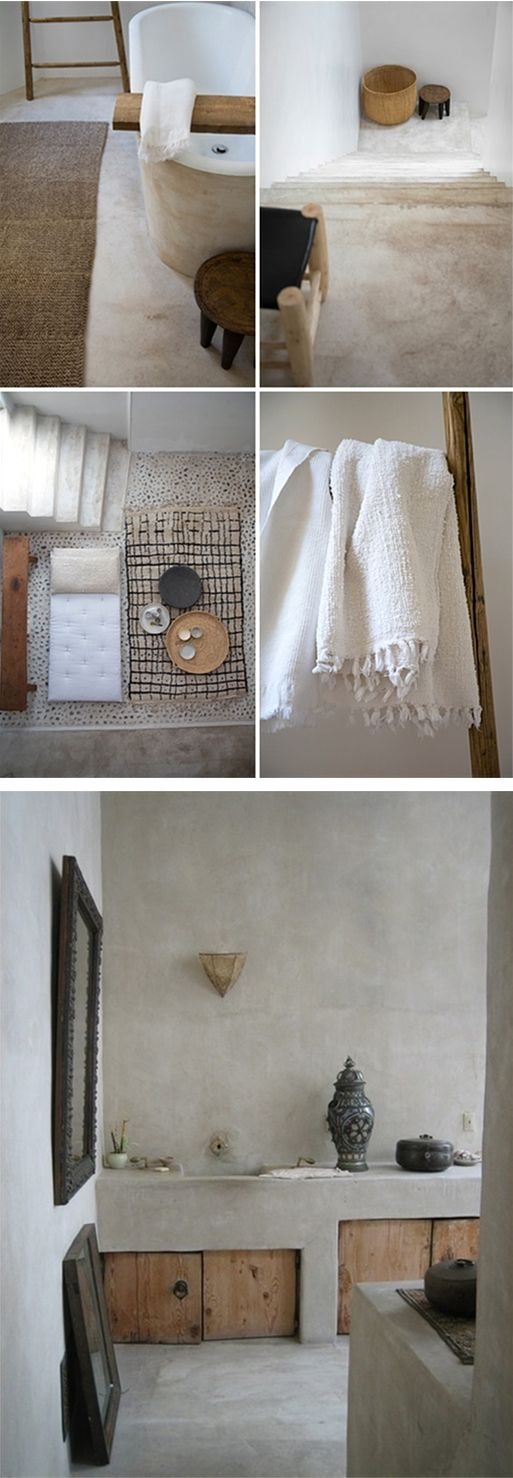 Hmm....lovely. A bathroom with a Moroccan atmosphere you create with tadelakt or concrete cire