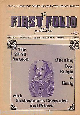 FIRST FOLD VOL 1 NO 8 SHAKESPEARE THEATER VINTAGE MUSIC DRAMA MAGAZINE 1973