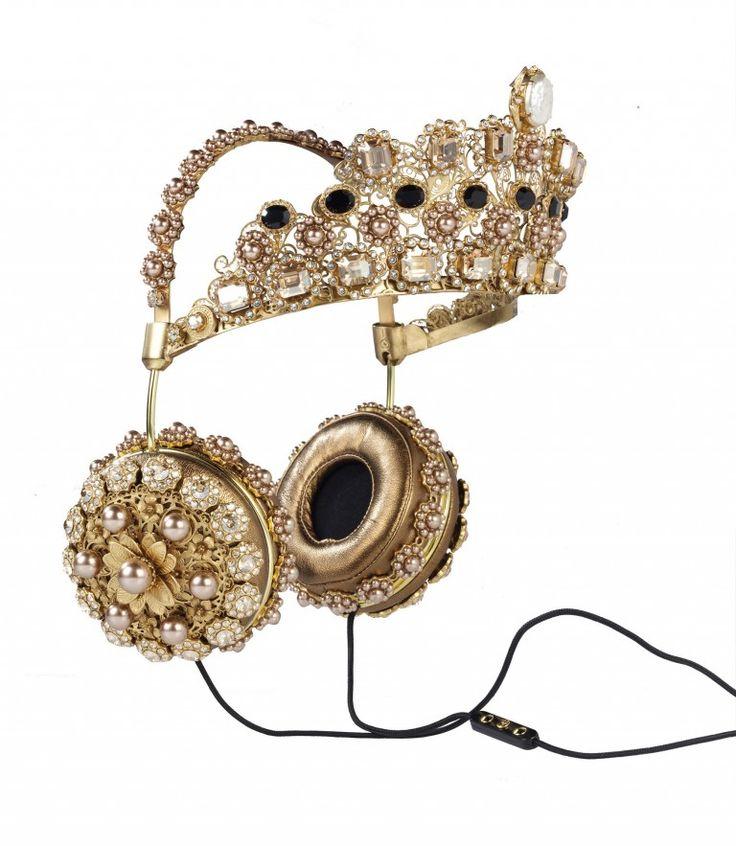 dolce & gabbana . gold crown embellished headphones . 2016