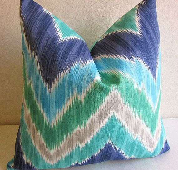 Kaufmann Tribal Ikat Chevron Pillow Cover Zig by DesignerPillows4U