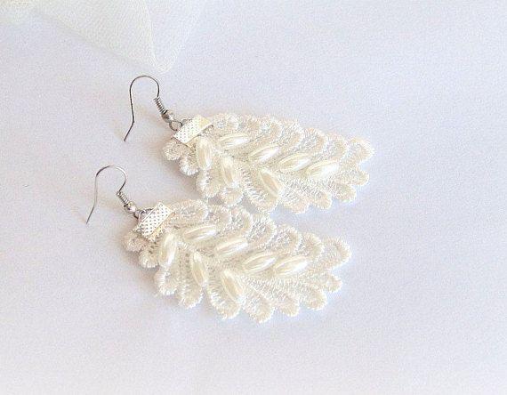 Ivory lace earrings leaf earrings embroidered lace earrings