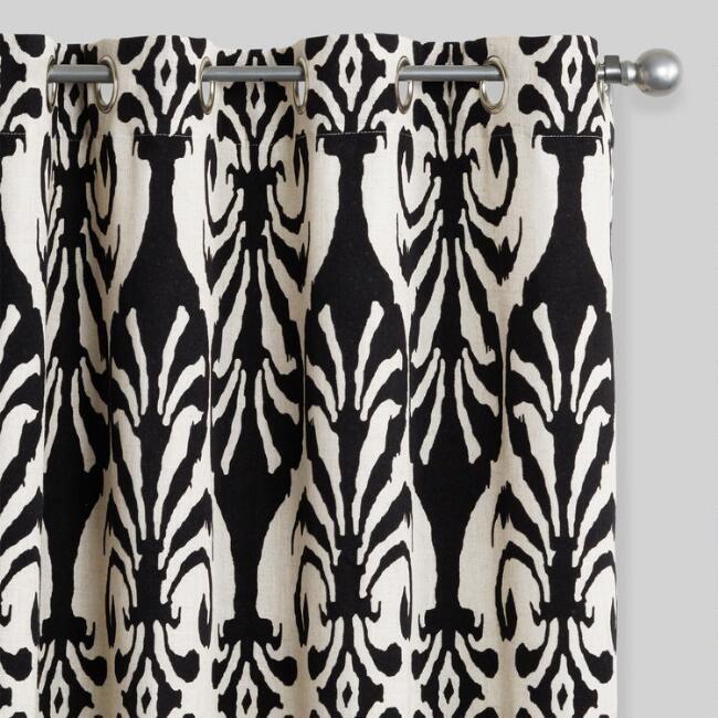 Black Flocked Grommet Top Curtains Set of 2 | World Market