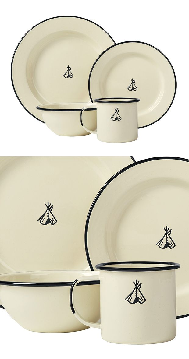 Don't go camping without it! This Happy Trails Enamelware dish set is an…