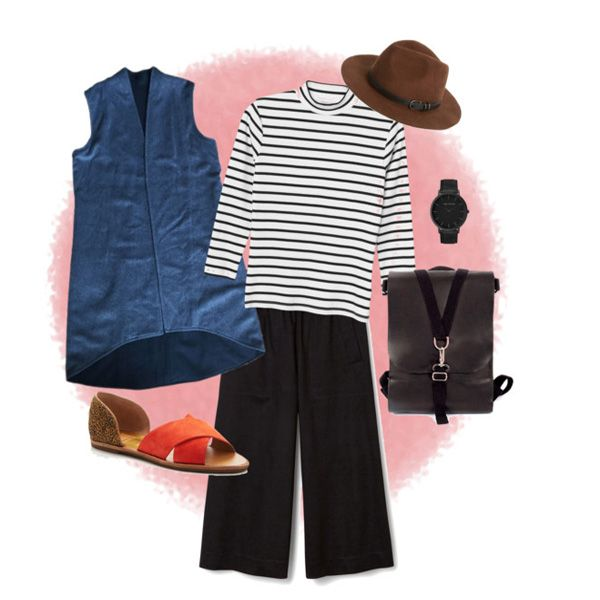 Cloudy days are sometimes so uninspiring. I know I hate getting dressed for them -- we're here to help make your cloudy day outfit look effortless. Style our Okeefe vest with  oh-so-comfy cullotes and you'll be ready for a leisurely day browsing the farmers market. #materialsandprocess backpack, #monki top, #weekday_clothing #dolcevita d'Orsay flats, #nordstrom outback hat, #thefifth watch
