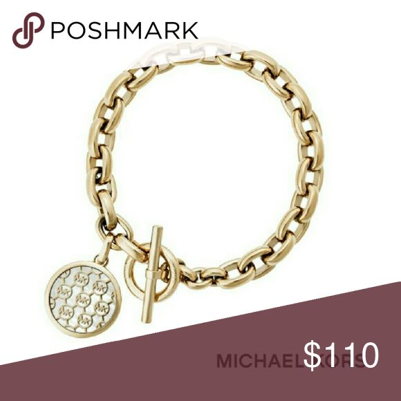 """🆕 Michael Kors - ❤ Gold Chain Bracelet New in box with tags. Gold color. Attached circle studded charm. Total length 9"""".  Gifts. Present. Birthday Michael Kors Jewelry Bracelets"""