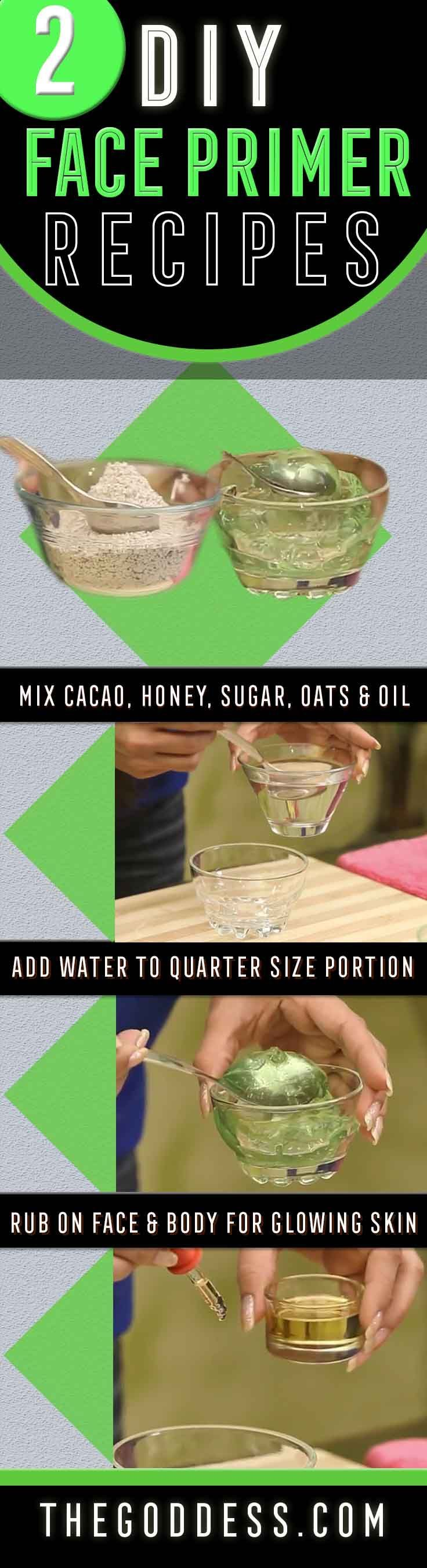 2 Awesome DIY Face Primer Recipes To Try Today - Homemade DIY Face primer Recipes - Easy and Great for Oily Skin - https://www.thegoddess.com/diy-face-primer-recipes/