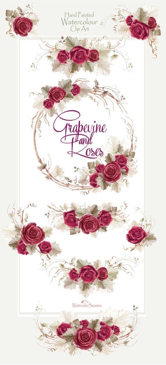 Watercolor Autumn Clipart Grapevine And Roses Arrangements Etsy Convite Estampas