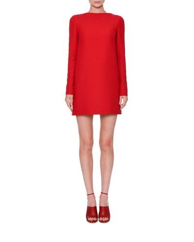 W0GHS Valentino Long-Sleeve Crepe Couture Dress, Red