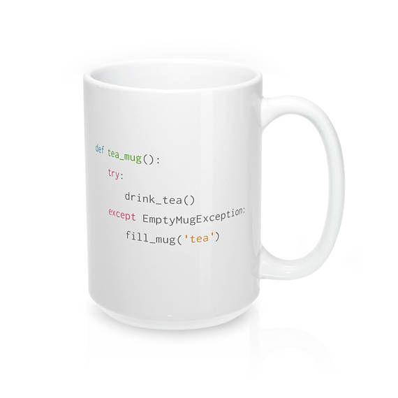 Best mug for Python coders that love tea #CodeBean #python #gifts #coding #starbucks #coffeetime #giftideas #giftsforher #giftsforhim #programminghumor. Following this simple script will remind coders to fill up an empty mug with more delicious tea!   The perfect mug to get a much that needed tea from while developing!   - Durable white ceramic mug  - Rounded edge, safe to
