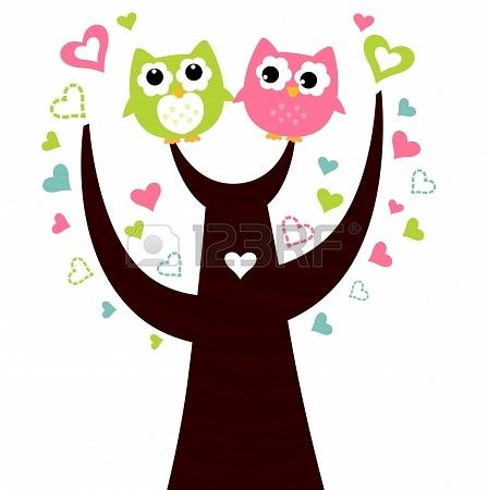 Two Owls On Branch Clip Art Two lovely owl c...