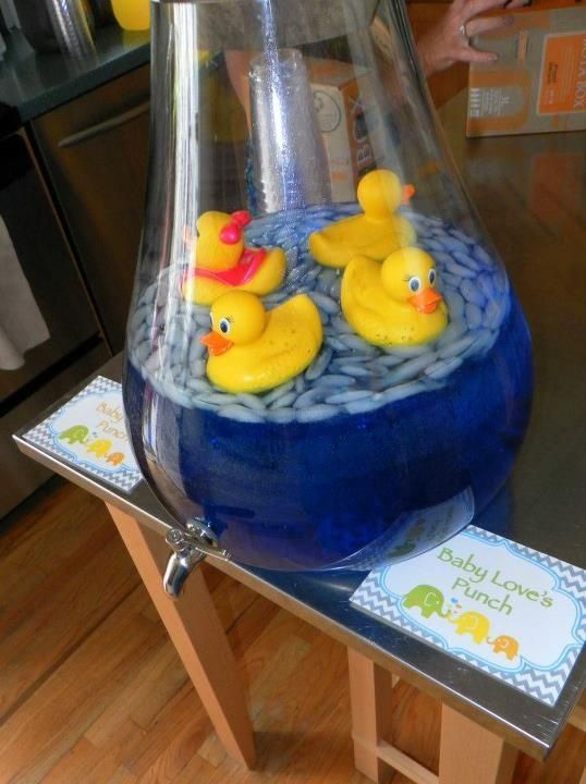 @Torie Mathis Mathis Mathis Roberts, here's a great idea for the punch at the shower. She can use the duckies as tub toys later. To keep them from getting punch in them put a dab of hot glue over the hole on the bottom before putting them in the liquid. You could even do pink punch with pink duckies.