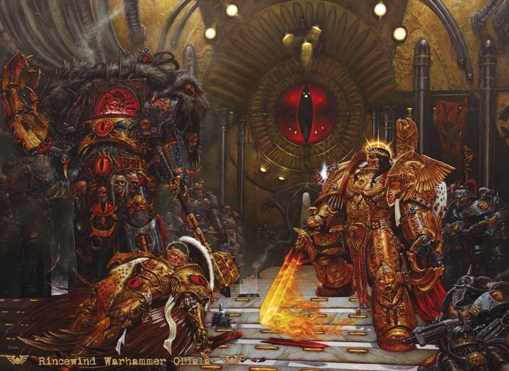 """Warhammer 40k, The Horus Heresy - """"The Emperor confronts Horus on the Battle Barge Vengeful Spirit after the death of Sanguinius."""""""