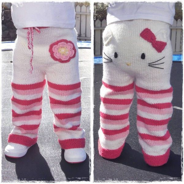 Hello Kitty toddler pants knitting pattern....and I'm not even a Hello Kitty fan!!!  These are just TOO adorable.
